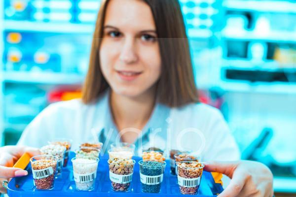 Lab technician with food samples