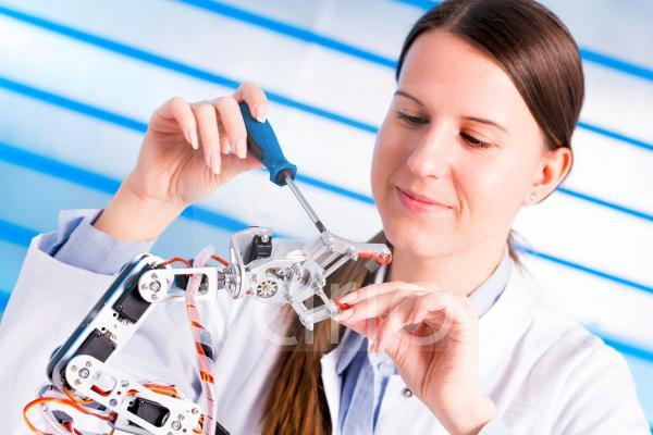 Female electrical engineer working