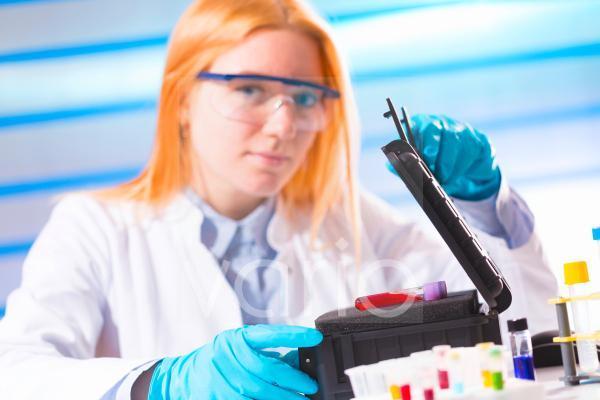 Lab technician with hazardous substances
