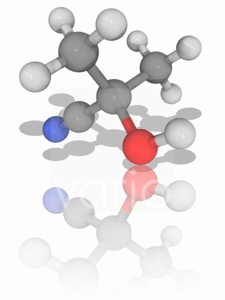 Acetone cyanohydrin organic compound molecule