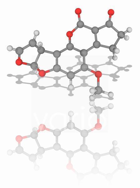 Aflatoxin B1 organic compound molecule
