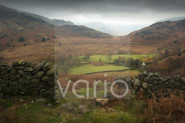 Wrynose Fell and Side Pike from Lingmoor Fell above Bleatarn House in the English Lake District National Park.