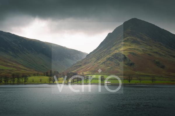 Dale Head and Fleetwith Pike overlooking Buttermere in the English Lake District National Park.