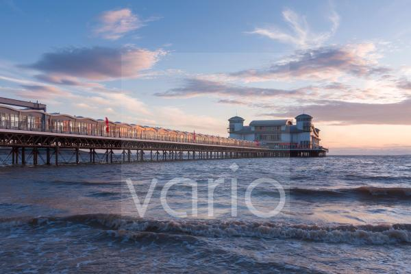 The Grand Pier during high tide at the English seaside town of Weston-super-Mare.