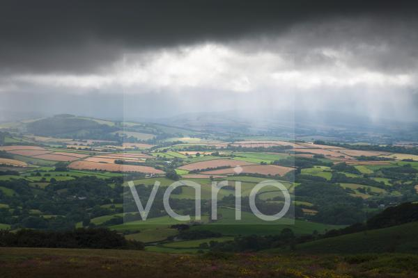 Summer rain and sunlight on the Brendon Hills viewed from Hurley Beacon in the Quantock Hills Area of Outstanding Natural Beauty.
