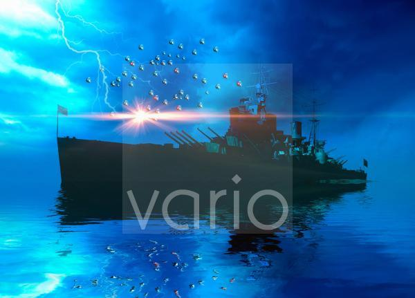 Naval ship swarmed by drones, illustration