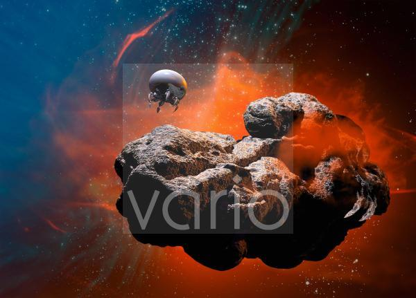 Drone landing on an asteroid, illustration
