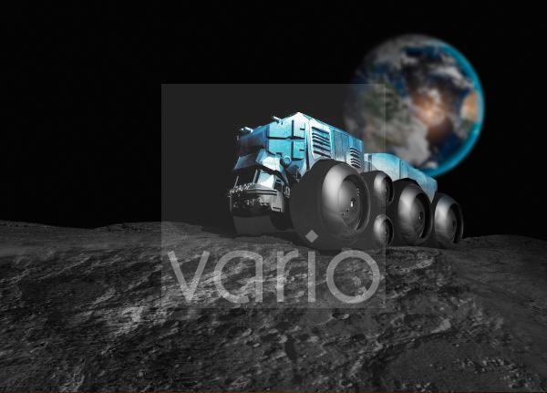 Vehicle driving on the surface of the Moon, illustration