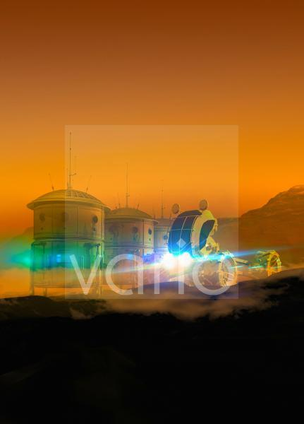 Martian colony, conceptual illustration