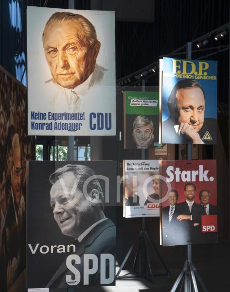 Federal parliamentary elections 2021. Historic election posters of different parties.