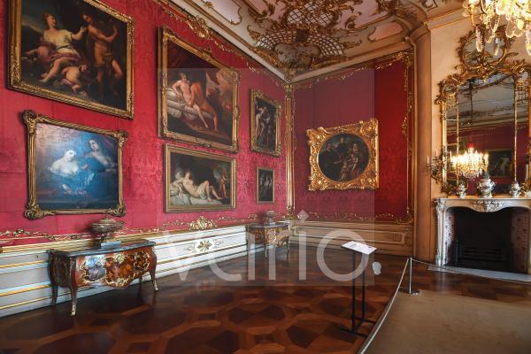 Rote Damastkammer, Neues Palais, Schloss Sanssouci, Potsdam, Brandenburg, Deutschland, Europa