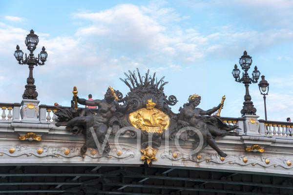 Pont Alexandre III, Brücke über die Seine, Detailaufnahme, Paris, Frankreich, Europa