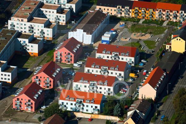 """Baustelle zum Neubau einer Mehrfamilienhaus-Wohnanlage der """" Gut Alt-Biesdorf """" in Berlin, Deutschland"""