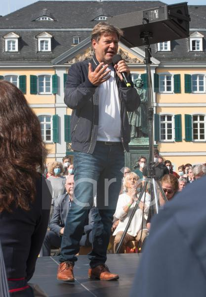 Bundestag election 2021. Robert Habeck, Fderal chairman of Alliance90/The Greens, during an election campaign event in Bonn.