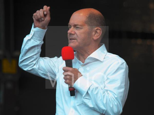 Bundestag election 2021. Olaf Scholz, Chancellor candidate of the SPD, during an election campaign event in Bonn.