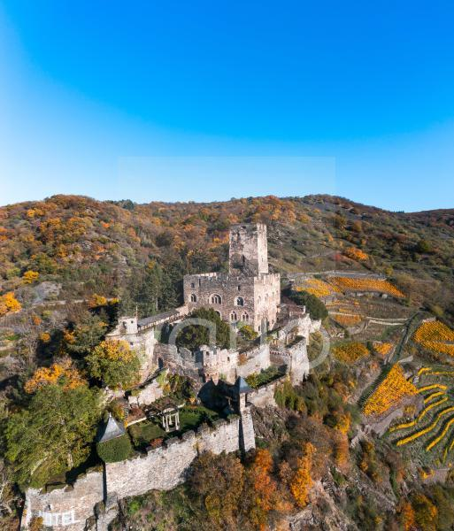 Germany, Rhineland-Palatinate, Kaub, Helicopter view of Gutenfels Castle in summer