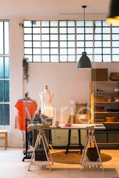 Empty desk in fashion design studio