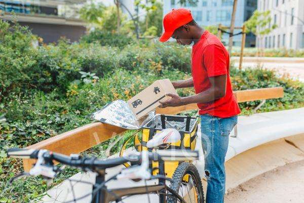Delivery man examining package at bench