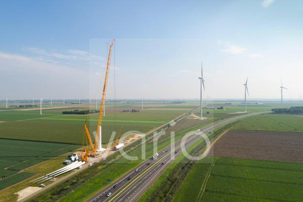 Nederland, Almere, Aerial view of wind farm under construction