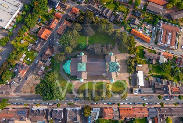 Senkrechtluftbild Kirchengebäude des Domes in der Altstadt in Rheine im Bundesland Nordrhein-Westfalen, Deutschland