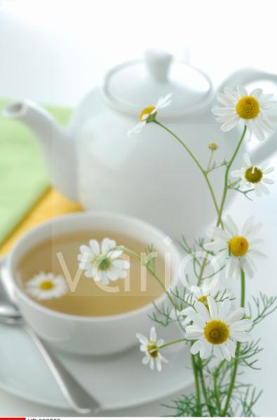 Teekanne und Teetasse mit Kamillenblüten