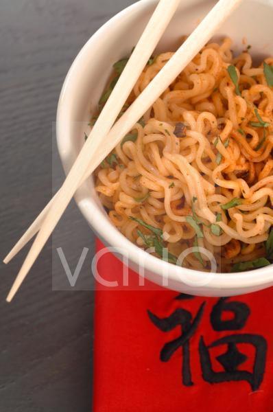 Asiatisches Nudelgericht; Anschnitt