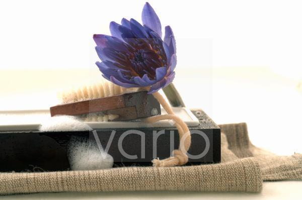 Badezimmer Stillleben mit blauer Blüte